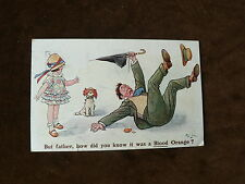 Old 1926 Postcard, Man Slips on Blood Orange, Child, Dog, Umbrella, F G Lewin
