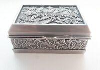 Vintage Trinket Box jewelry with flowers in silver metal