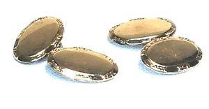 Elegant RETRO VINTAGE Gold on Sterling Silver Oval Men's Cufflinks 925