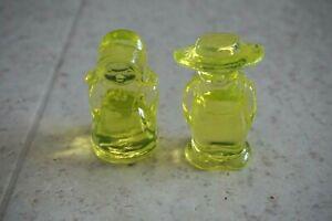 Boyd ELI and SARAH Amish Couple #3 VASELINE RARE FIND Yellow Uranium Glass