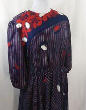 Vintage CANASTA FROCKS modest dressy floral blouson drop dress women Blue Large
