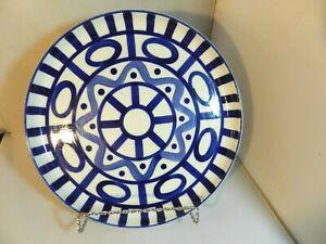 "Dansk Arabesque Sri Lanka Phillipines 10"" Deep Round Platter Blue Abstract"