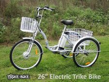 "Trike Bike Adult Tricycle 26"" Aluminium 3 Wheeled - 6 Gears & Baskets - ELECTRIC"