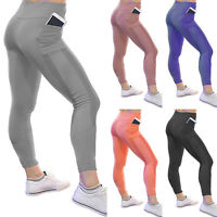 Womens Sports Yoga Leggings Jogging Gym Fitness Pants High Waisted With Pockets