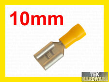 "Large 10mm 3/8"" Yellow Female Spade Crimp Terminals. 10 Pk. Alternator, Starter"