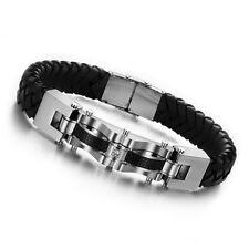 Steampunk Carbon & Cubic Zirconia Leather Men's Bracelet