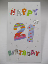 FANTASTIC EMBOSSED COLOURFUL HAPPY 21ST BIRTHDAY GREETING CARD