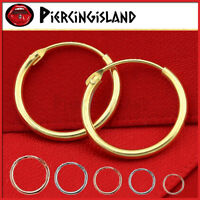 STERLING SILVER MENS WOMEN KID RING HOOP SLEEPER EARRINGS GIFT NOSE EAR PIERCING
