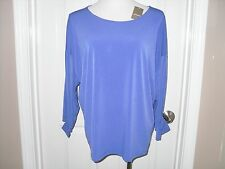 New Chico's Tallie Tie Sleeve Top Blouse 3=16/18 XL Liberty Purple NWT