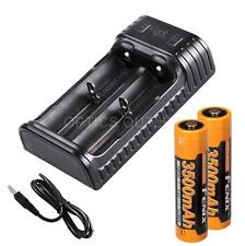 Fenix ARE-X2 Dual-Channel USB Charger & 2x 3500mAh 18650s- for 18650, 16340, etc