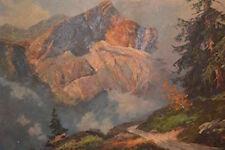 Painting of Alpspitze Garmisch German Mountain Oil on Canvas Signed