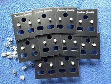 JOB LOT-30 pairs of crystal diamonte 0.4cm crown set stud earrings.Silver plate