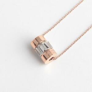 Michael Kors Rose Gold-tone Cylinder Crystal Pendant Necklace