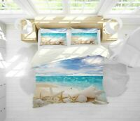 3D Beach Starfish Shell Quilt Cover Sets Pillowcases Duvet Comforter Cover 2