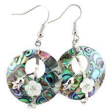 Gemstone Silver Dangle Hook Earrings Flower Style Handmade Natural Abalone Shell