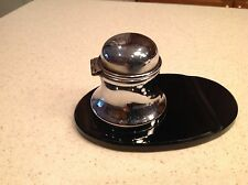 Vintage Inkwell Silve Tone Lidded On Black Glass W/ Quill Holder & Glass Insert