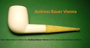 New Meerschaum Billiard by Andreas Bauer Vienna 1970s Acrylic Stem 15-666