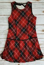 The Children's Place Red Black Plaid Jumper Pleated Holiday Dress Girls 10 NWT