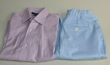 NEW Oscar de la Renta 2 PC Boys Plaid Long Sleeve Shirt + Pants Blue Pink 6