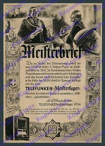 orig. Reklame TELEFUNKEN Meistersuper Radio Empfänger Elektronik Rundfunk 1934