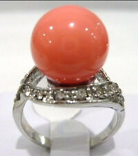 12mm pink purple red gray black blue coffee green shell pearl jade 18KGP ring