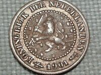 Netherlands 1901 1/2 Cent Queen Wilhelmina Crowned Lion Holds Bundle Arrows