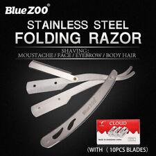 Manual Straight Barber Edge Steel Razor Beard Folding Shaving Knife&10pc Blades~