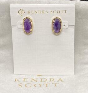 NWT Kendra Scott Gold Ellie Stud Earrings In Amethyst