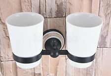 Oil Rubbed Black Bronze Toothbrush Holder & Double cup, Bathroom Tumbler Holder