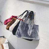 Fashion Women Plush Fur Handbag Purse Tote Shopping Large Shoulder Travel Bag