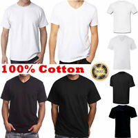 For Men 100% Cotton Thick Basic Tee Casual T-Shirt Crew V-Neck White Black S-4XL