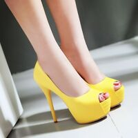 Womens Peep Toe Platform Super High Heel Stilettos Party Pumps Shoes ALL US Sz
