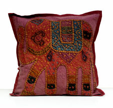 Maroon Cushion Cover Pillow Applique Patchwork Traditional Elephant Handcrafted