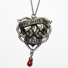 Carpe Noctum Spondeo Double Skull Love Heart Pendant Necklace Anne Stokes Pewter