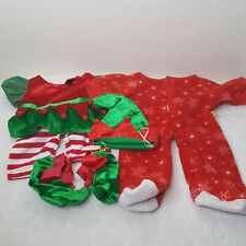 BABW Build A Bear Christmas Elf Outfit Hat Shoes and Red Pajamas