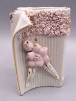 Vintage White Porcelain Book Planter Bud Vase with Pink Floral Flower Japan