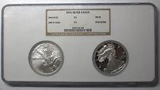 2004 USA SILVER EAGLE $1 COIN SET NGC PF W 69 ULTRA CAMEO & MS 69 2 COIN SET DBW