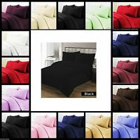PLAIN DUVET QUILT BED COVER & PILLOW CASE IN SIZE SINGLE DOUBLE KING SUPER KING