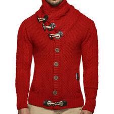 Herren Strickshirt Sweater Horn Button Sweater Jacke Turtleneck Winter Pullover