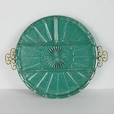 Vintage Kyes Enamel Tray Turquoise Green Moire California Greek Key Glass Insert