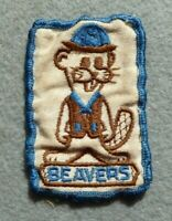 Vintage Beavers Scout cloth badge, 2.75 x 1.75 inches, fair condition.