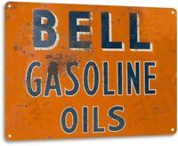 Bell Gasoline Oil Gas Pump Station Auto Shop Garage Rustic Metal Decor Sign