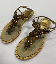 Rene Caovilla Flat Sandals Shoes Flats Gold Size EU 36 *AB164