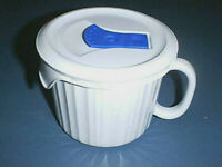 CORNING WARE Stoneware FRENCH WHITE Microwave & Oven Soup Bowl Mug & Vented Lid