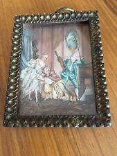 Antique Miniature Art Vintage Metal Frame Small Painting