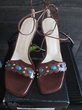 El Dantes dark brown color suede high heels sandals size 41 made in Spain