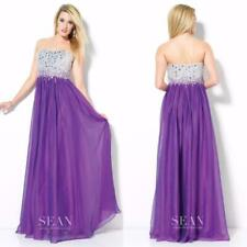 NEW 50558 SEAN COLLECTION Purple Mirror BEADED Long CHIFFON Dress PROM GOWN 0