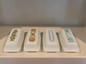 Pyrex Butter Dish Set of 4 Butterprint Daisy Snowflake Garland Butterfly Gold