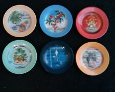 "6 Bone China TOMMY BAHAMA Appetizer Desert Plates 6-1/2"" SUPER COOL!!"