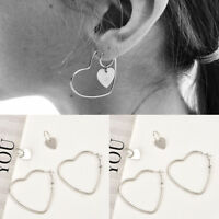 1 Pair Heart Women Jewelry Big Earrings Hip-Hop Silver Dangle Ear Studs Gift